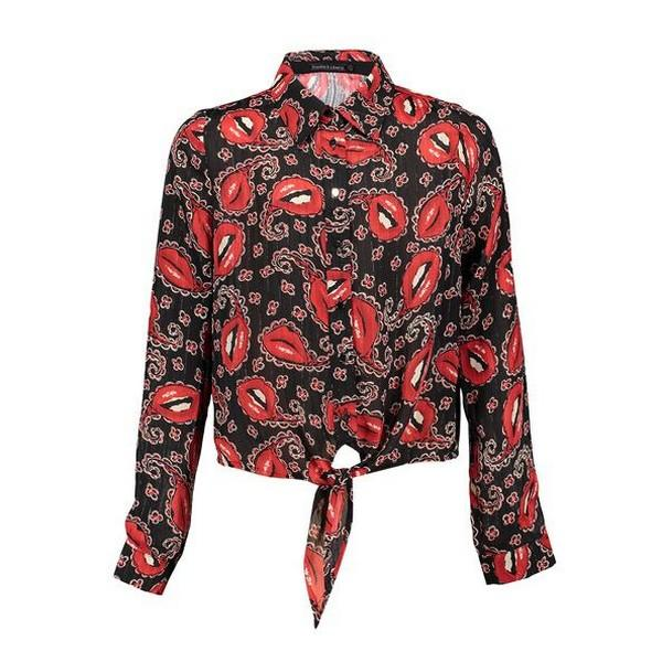 Lola Blouse black with red print